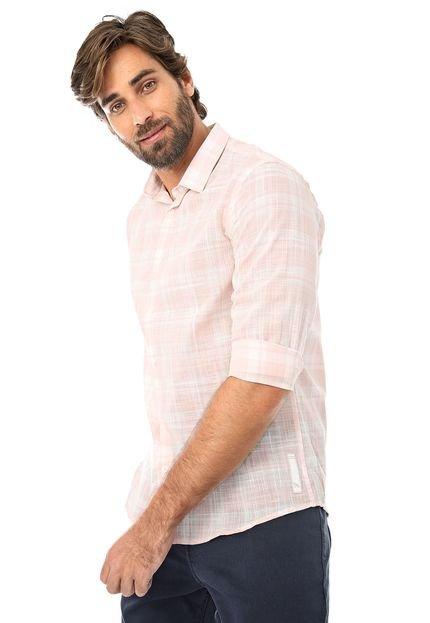Camisa Acostamento Reta Xadrez Rosa/Branca