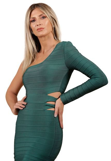 La Belle Bandage Vestido Bandage La Belle Midi Verde OjS46
