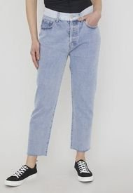 Jeans Patchwork Straight Azul   - Mujer Corona