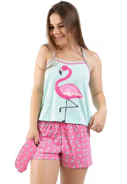4 Estações Baby Doll Flamingo Com Tapa Olho 4 Estações Adulto Verde I6Hqx