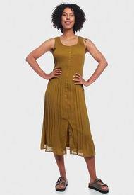 Vestido Wados Plisado Sin Mangas Verde - Calce Regular