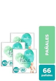 Pack X 3 Pañales Desechables Pure Protection  66 Unidades Verde Pampers