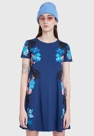 Vestido Desigual Dress Fall Flower  Azul - Calce Regular