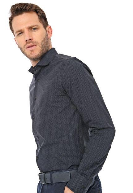 Camisa Azzaro Slim Padronagens Preta/Azul