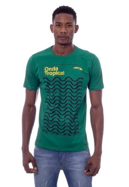 Camiseta Tropical Brasil Estampada Onda Verde
