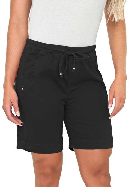 Bermuda Jogger Bloom Color em Sarja de Moletom Preto - Marca Bloom