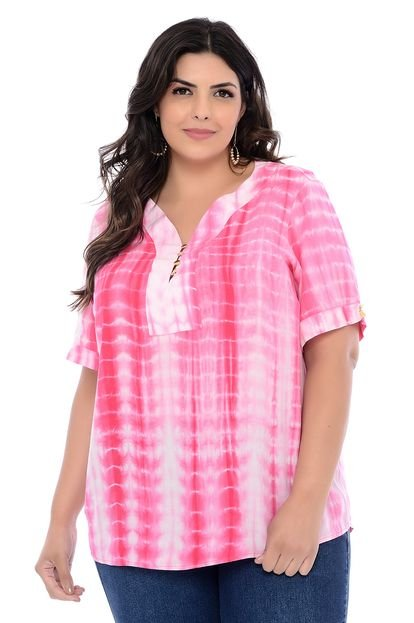 Forma Rara Blusa Plus Size Forma Rara Luna Tie Dye Rosa MeDQs