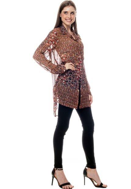 101 Resort Wear Vestido Chemise 101 Resort Wear Crepe Estampado Gravataria Vermelho lKTIb