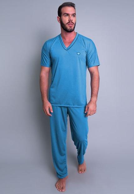 Pijama MVB Modas Longo Adulto  Manga Curta E Calça Azul Claro