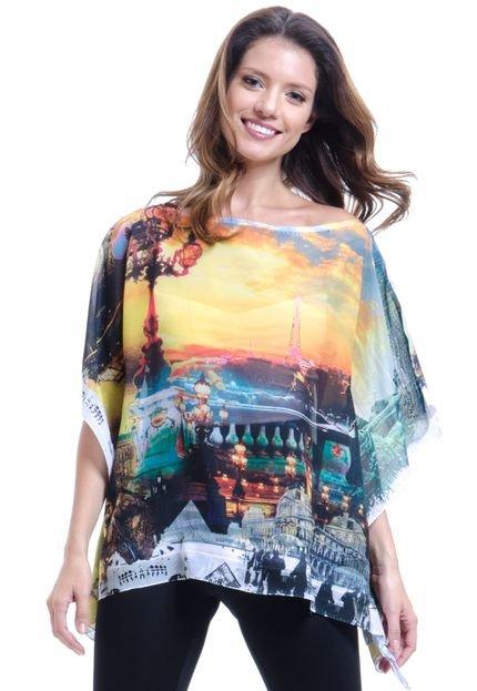 101 Resort Wear Blusa 101 Resort Wear Ponch Tunica Decote V Estampada Paris B6ip9
