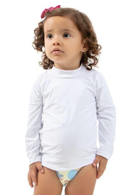 4 Estações Camisa Térmica Infantil 4 Estações Manga Longa Proteção UV Branco k659b