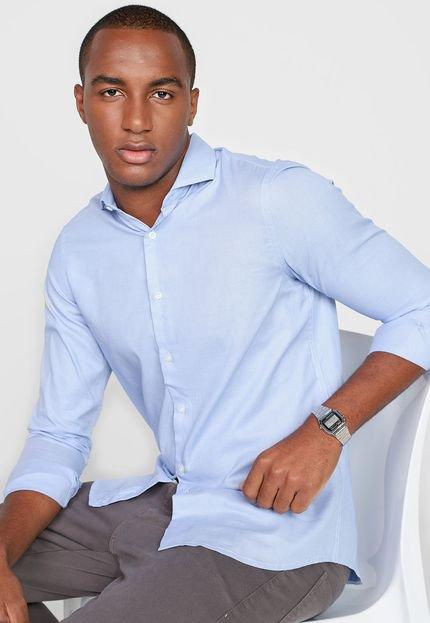 Camisa Azzaro Slim Padronagem Azul