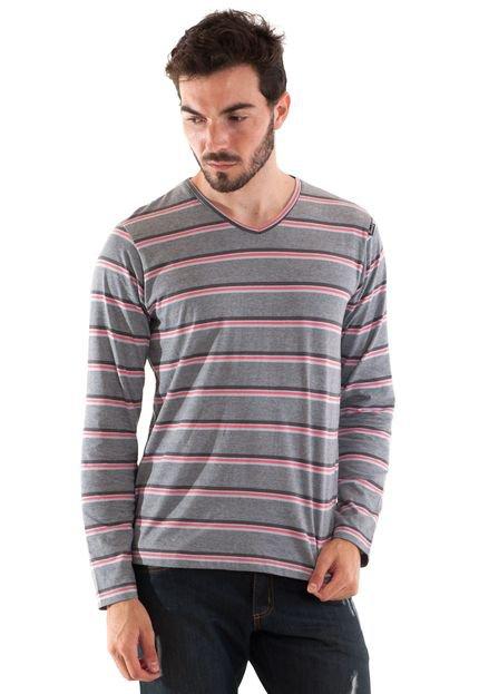 Camiseta Konciny Listrada Decote V Cinza
