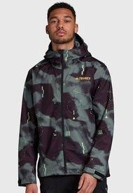 Chaqueta adidas outdoor Camo Rain J Verde - Calce Regular