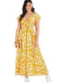 Vestido Largo Para Mujer Estampado Mostaza Atypical