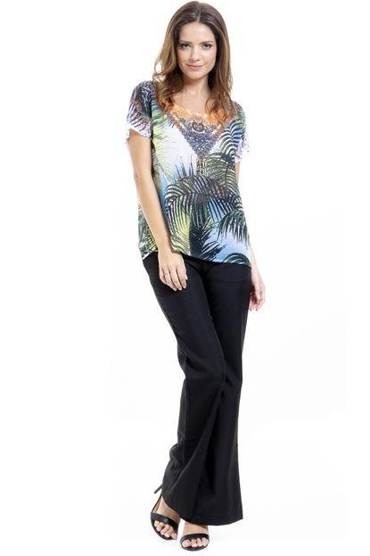 101 Resort Wear Blusa 101 Resort Wear Crepe Manga Renda Estampada Folhas