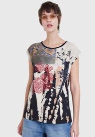 Polera Desigual T Shirt India  Multicolor - Calce Regular