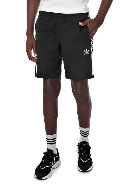 Bermuda adidas Originals Reta Stripes Swim Preta