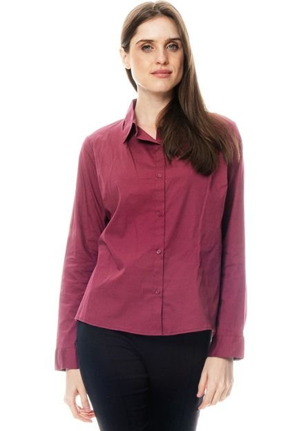 101 Resort Wear Camisa 101 Resort Wear Tricoline Elastano Vinho 2SnEX