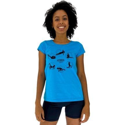 Alto Conceito Camisa Babylook Alto Conceito Fitness Girl Azul Piscina 3emX3
