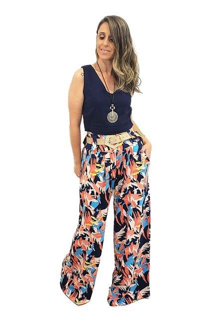 Mania de Sophia Calça Pantalona Malha Mania de Sophia Tropical PdtIU