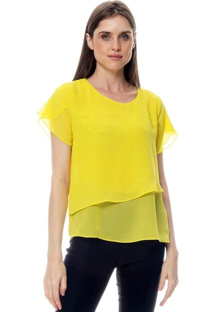 101 Resort Wear Blusa 101 Resort Wear Crepe Lisa Duplo Amarelo kOFeq