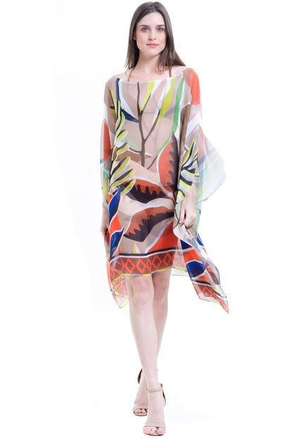 101 Resort Wear Kaftan 101 Resort Wear Vestido Plus Size Crepe Estampado Folhas Marrom 2HsZ1