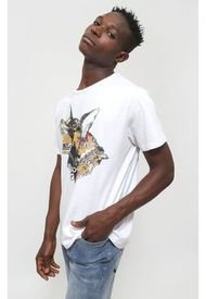 Polera Ellus Silicon Wash Round Tee With Front Print Blanco - Calce Regular