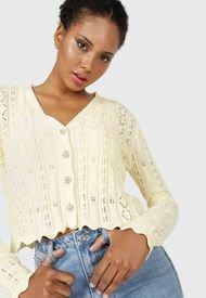 Cardigan MISSGUIDED Sparkle Button Cardigan Amarillo - Calce Regular