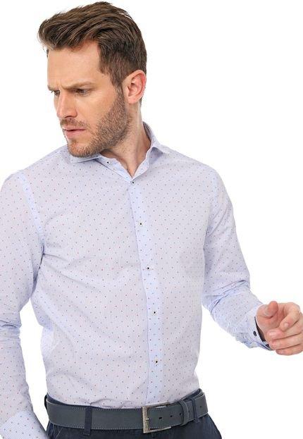 Camisa Azzaro Slim Padronagens Branca/Azul