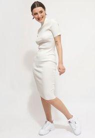 Vestido MISSGUIDED OPEN BACK KNITTED MIDI DRESS Blanco - Calce Ajustado