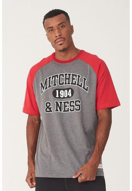 Camiseta Mitchell & Ness Raglan Branded  Cinza