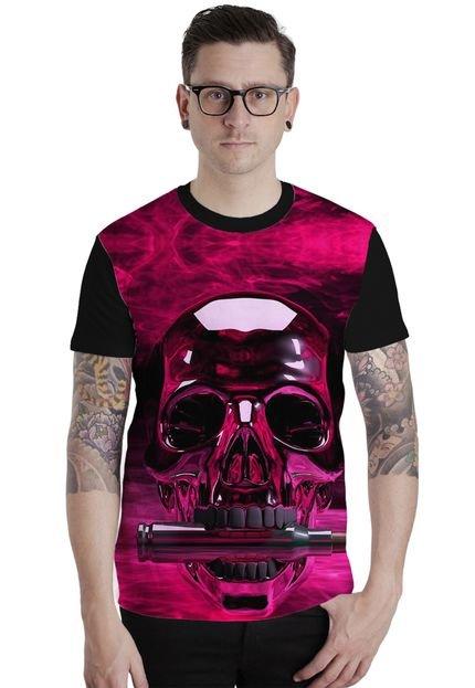 Camiseta Lucinoze Camisetas Manga Curta Pink Preto