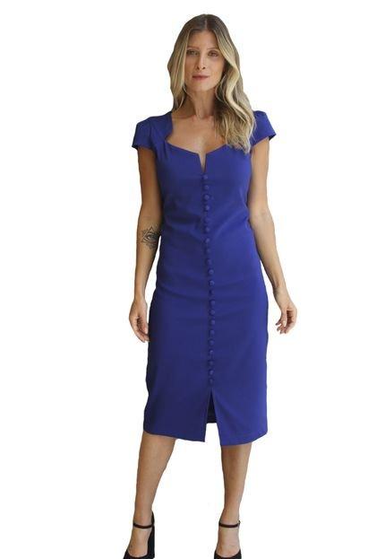 Soellas Boutique Vestido SoEllas Boutique Curto de Botões Azul rPiNn