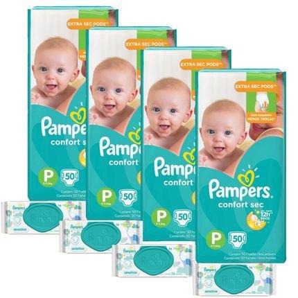 Kit Pampers Confort Sec Tamanho P 200 Unidades Toalhinhas Umedecidas Sensitive 224 Unidades