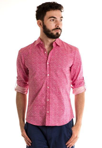 Camisa Konciny Manga Longa Estampada Rosa