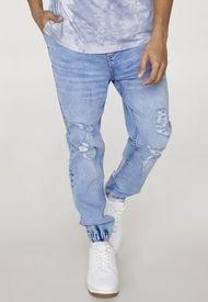 Jeans Jogger Roturas Azul Claro - Hombre Corona