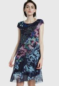 Vestido Desigual Corto Azul - Calce Regular