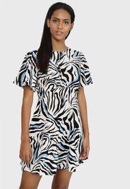 Vestido MISSGUIDED Flutter Slv Skater Dress Ss Zebra  Multicolor - Calce Regular