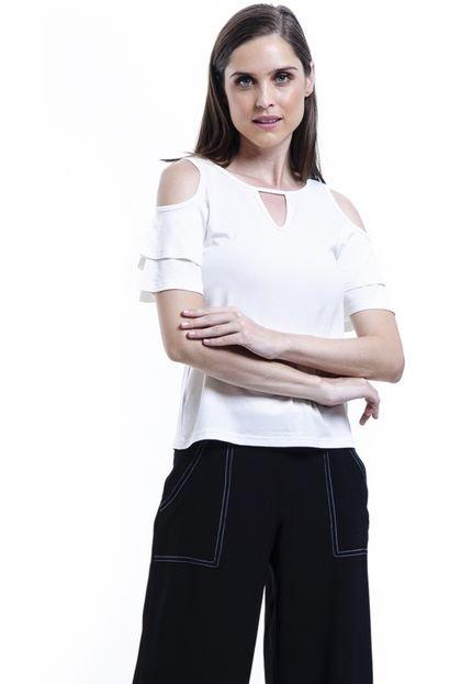 101 Resort Wear Blusa 101 Resort Wear Viscose Elastano Ombros Vazados Off K1QCa