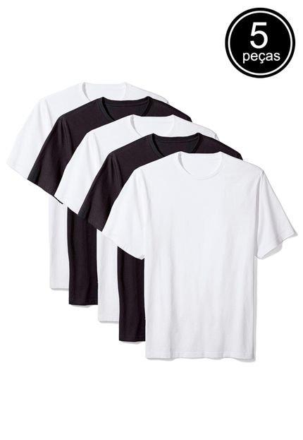 Kit Camiseta Básica c/ 5 Peças Branca/Preta
