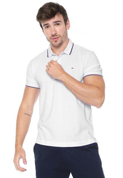 Camisa Polo Aramis Reta Listras Branca
