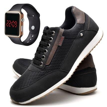 DUBUY Kit Sapatênis Sapato Casual Com Relógio LED Casual Dubuy 1100DB Preto hMpMO