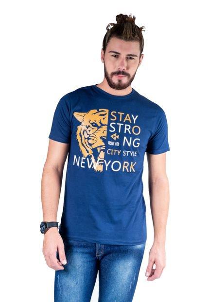 Camiseta Mister Fish Estampado Stay Strong Ney York City Marinho