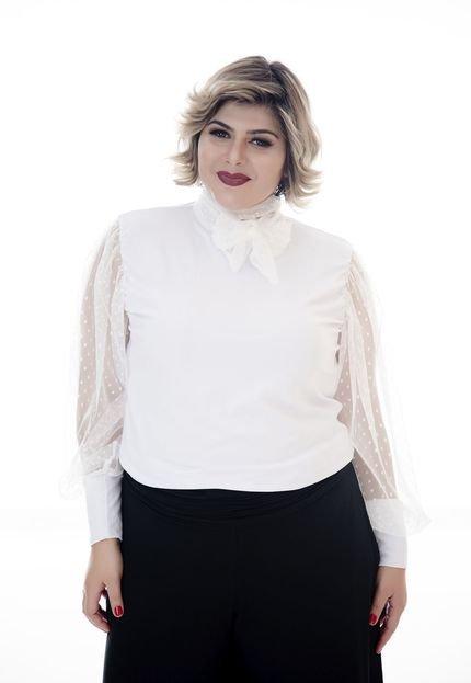 MARI MALPIGHI Blusa Mari Malpighi tule branca lCP83