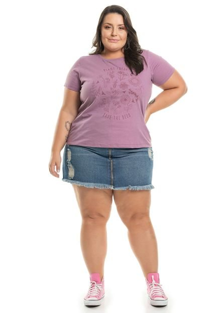 Miss Masy Plus T-Shirt Com Estampa Floral - ROXO - XLG