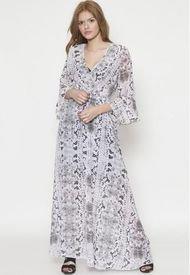 Vestido Largo Floreado 3/4 Rosa 609 SeisceroNueve