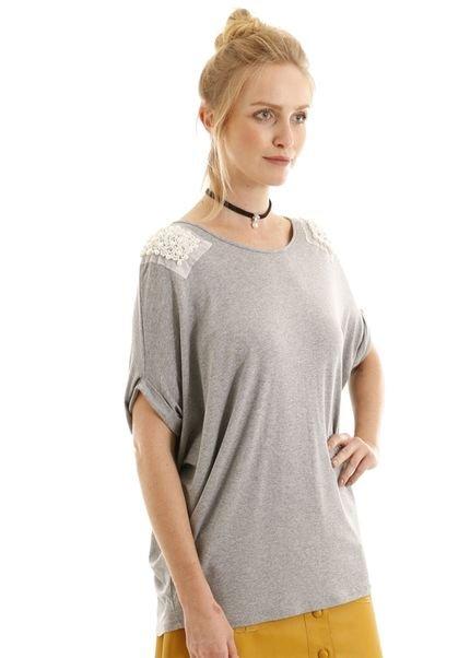 AHA Blusa manga curta ampla cinza com pérolas no ombro kBKlj
