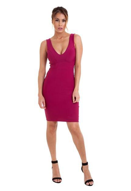 Izad Vestido Izad  Curto Em Malha Decote V Frente E Costas Pink d5RnZ