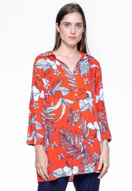 101 Resort Wear Vestido 101 Resort Wear Chemise Viscose Estampa Folhagem Vermelho B6JDG